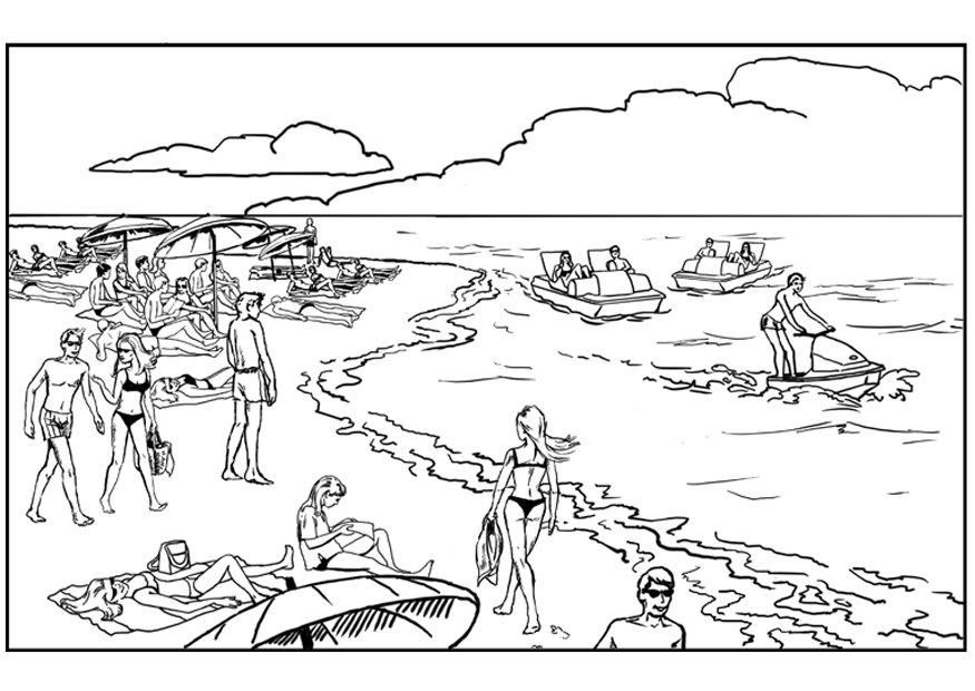 Coloring Sheet Of A Crowded Beach From The Gallery Landscapes Printable Adult
