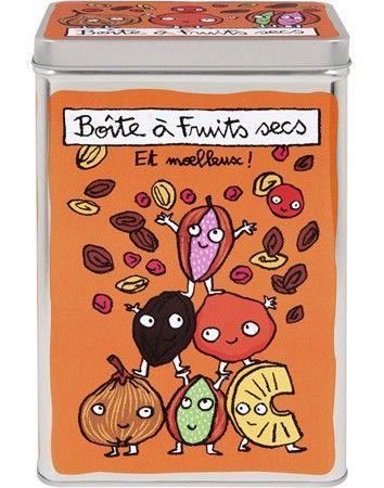Une jolie boîte pour conserver les fruits séchés (abricots, raisins, figues, dattes), mais aussi les fruits à coques décortiqués comme les amandes ou les noisettes...