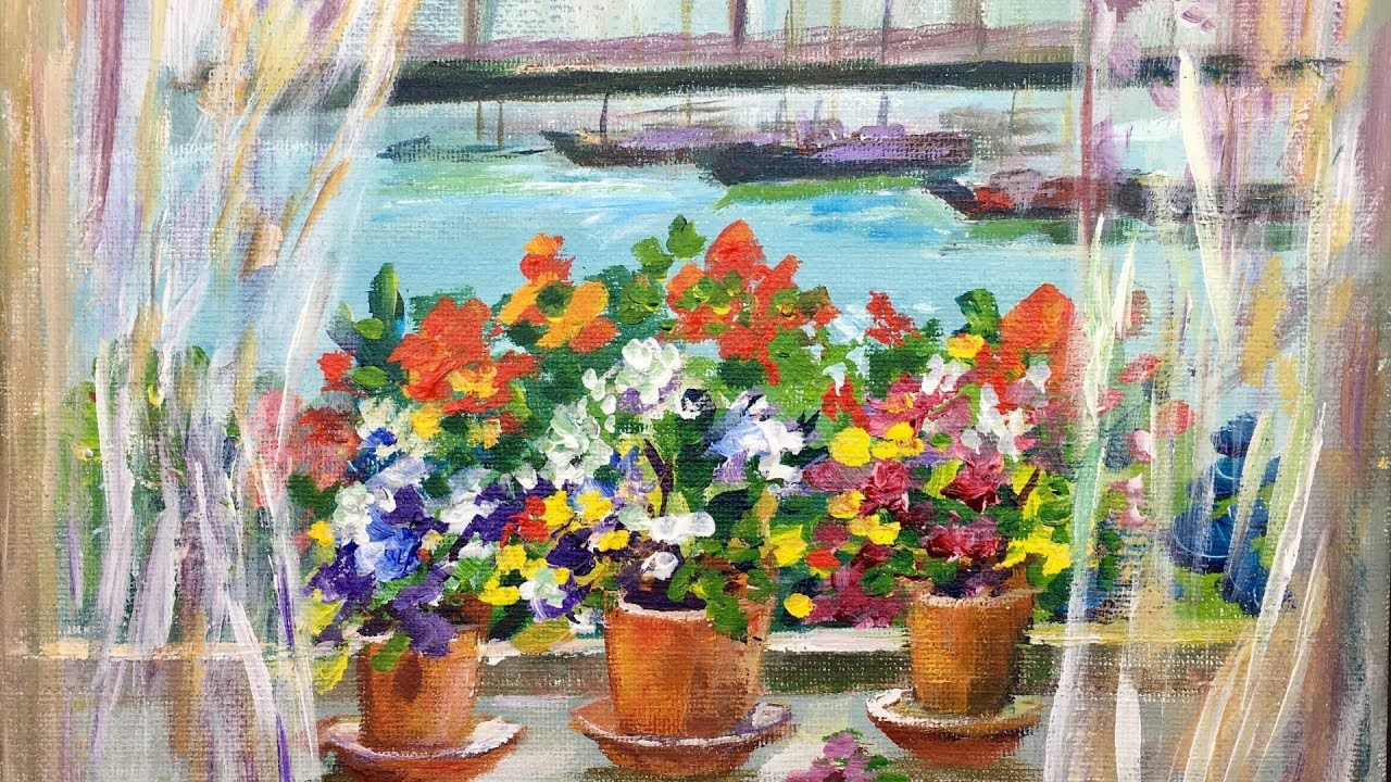 How To Paint A Window Garden By The Sea With Ginger Cook Acrylic Painting Tutorial