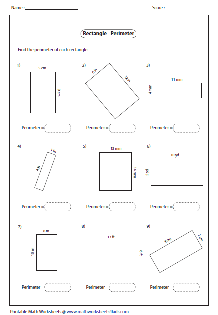 Perimeter Of Rectangle Area And Perimeter Perimeter Of Rectangle Rectangle Properties