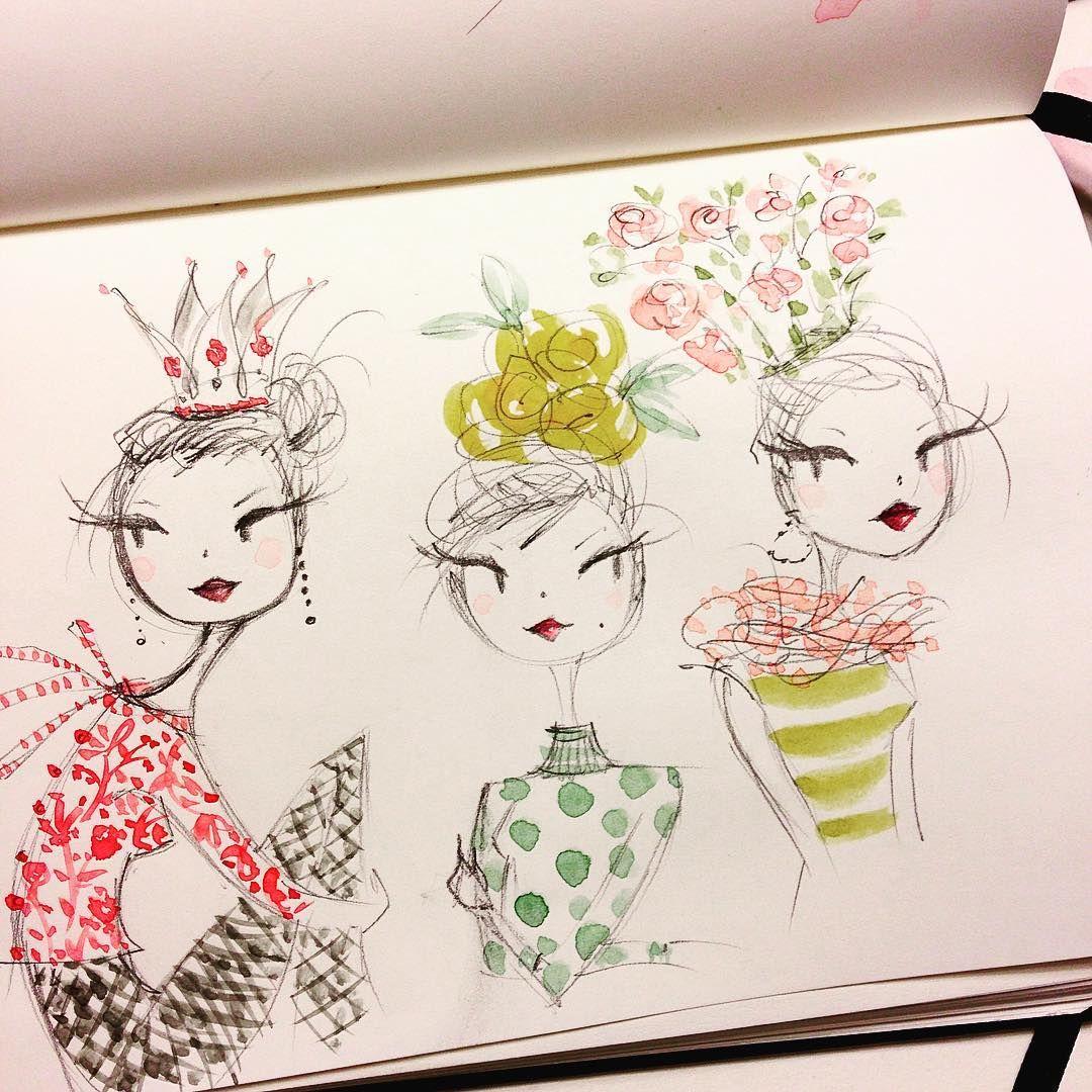 Monday night sketch. #crown #headpiece #sketch #flowers