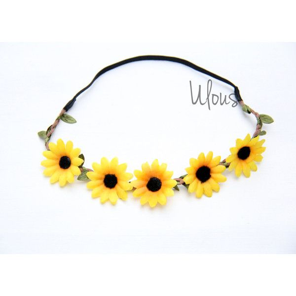 Sunflower Headband Sunflower Flower Crown Sunflower Head Wrap 5 99 Liked On Polyvore Fea Pink Flower Crown Pink Flower Headband Flower Hair Accessories