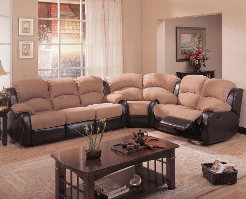 Gulliver Microfiber And Vinyl Reclining Sectional Sofa Coaster 600361s W L Ashley Furniture Sofas Sectional Sofa With Recliner Furniture