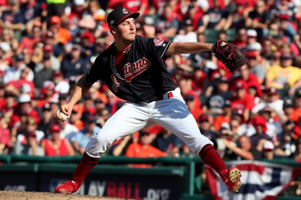 Cleveland Indians Trevor Bauer pitching in the 6th against