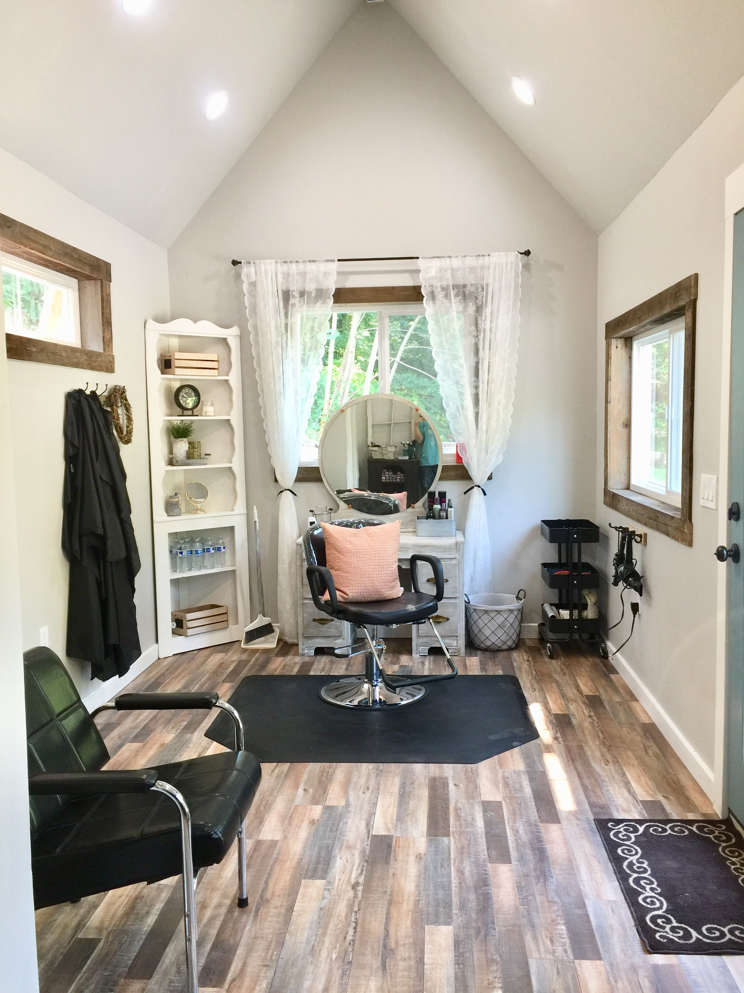 9x9 shed made into a salon. Farm house salon  Home hair salons