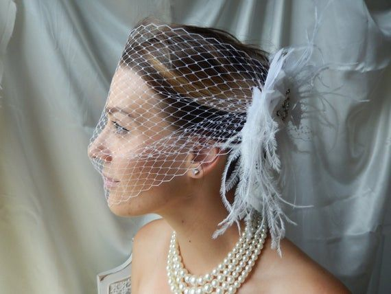 Bridal Fascinator - White Fascinator - Feathered Fascinator - Fascinator with Veil - Bridal Hair Piece #fascinatorstyles
