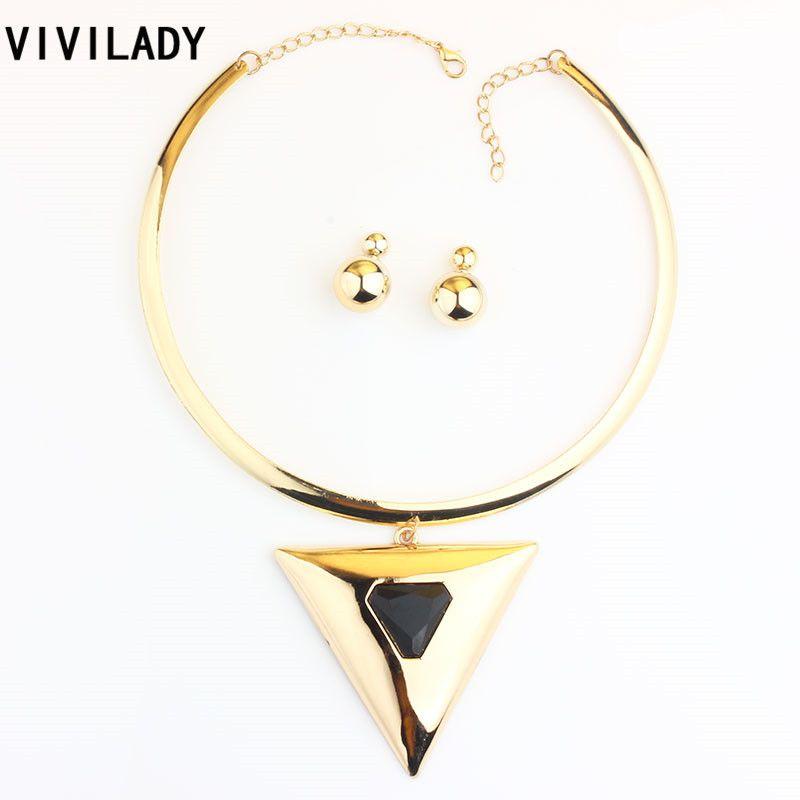 VIVILADY Fashion Driehoek Lichtmetalen Hangers Sieraden Sets Vrouwen Moeder Vergulde Draaimomenten Engagement Kettingen Kralen Oorbellen Geschenken