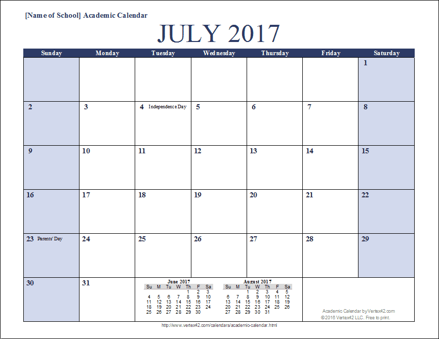 Academic Calendar Template Calendar Printables Free Printable Calendar Academic Calendar