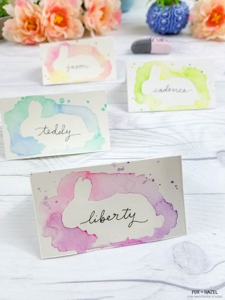 Diy Watercolor Easter Place Cards Diy Easter Cards Diy Place Cards