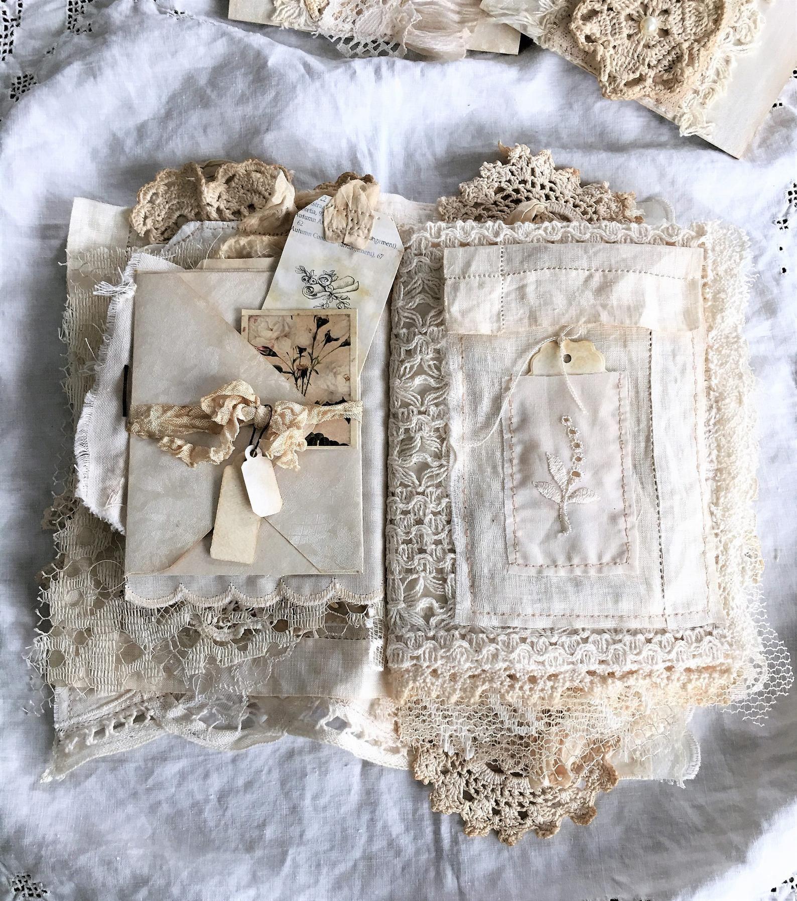 Reserved Vintage Linen And Lace Journal Heirloom Journal Etsy In 2020 Linens And Lace Fabric Journals Vintage Linens