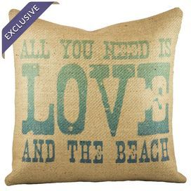 """Bring beach-chic style to your sofa, chaise, or arm chair with this charming pillow, handcrafted from burlap and showcasing an ombre typographic motif.     Product: PillowConstruction Material: Burlap coverColor: Beige and turquoiseFeatures:  Handmade by TheWatsonShop exclusively for Joss & MainZipper enclosure Insert includedMade in the USA Dimensions: 16"""" x 16""""Cleaning and Care: Spot clean only"""