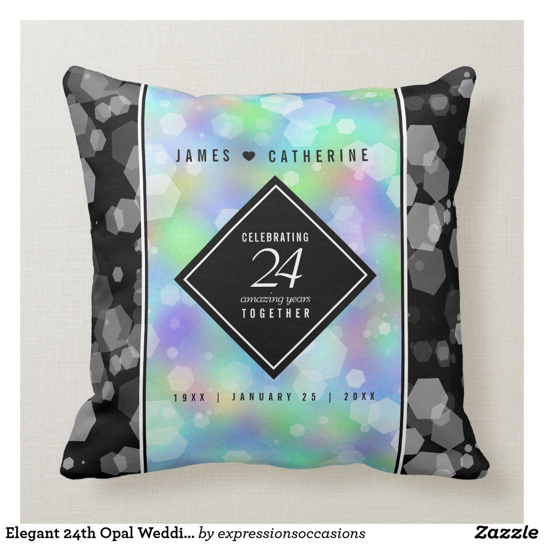 Elegant 24th Opal Wedding Anniversary Celebration Throw Pillow