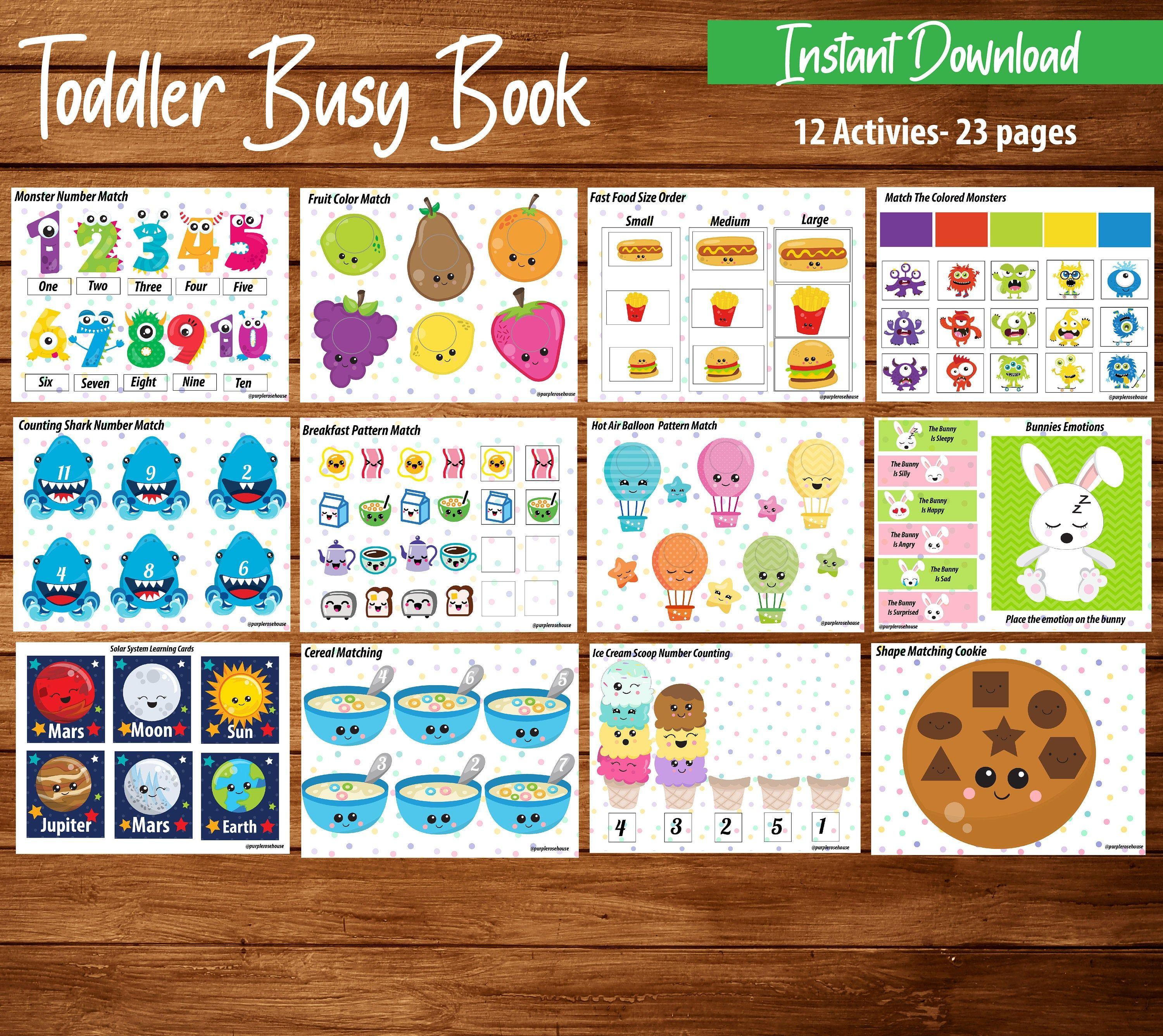 Toddler Busy Book Toddler Activity Binder Learning Busy
