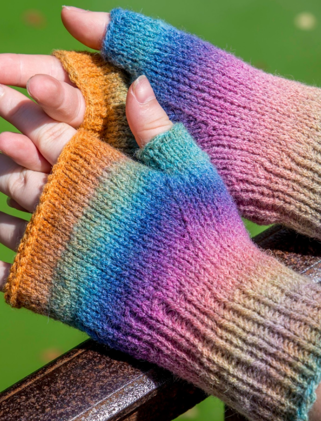 Rainbow Fingerless Mitten Pattern These bright mittens