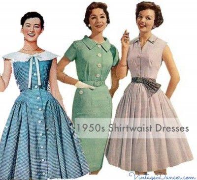 Ten 1950s Dress Styles Vintage 50s Dresses Fifties Dress 1950s Fashion Dresses Shirtwaist Dress