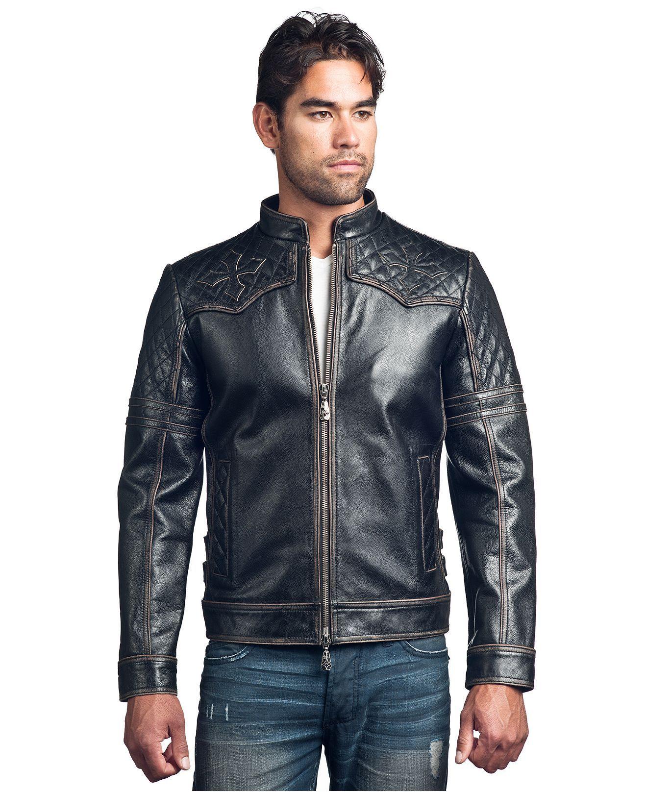 Affliction Jacket, Quilted Cowl Neck Jacket Mens Coats