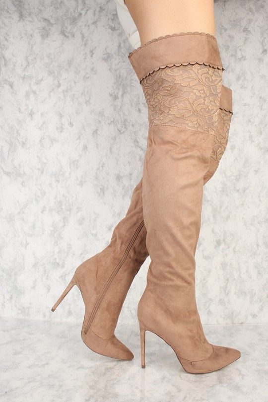 ed5d6c2acfc Taupe Scalloped Embroidered Lace Cut Out Pointy Toe Thigh High Heel Boots  Suede
