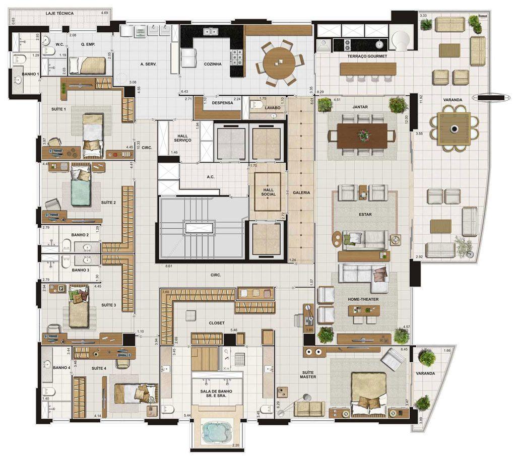 5 modelos de plantas com 5 quartos plantas baixas - Plantas para habitacion ...