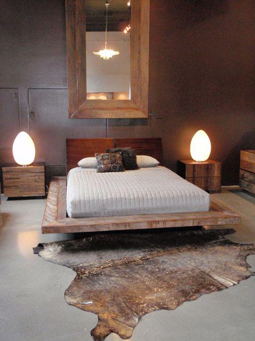 reclaimed wood platform bed master