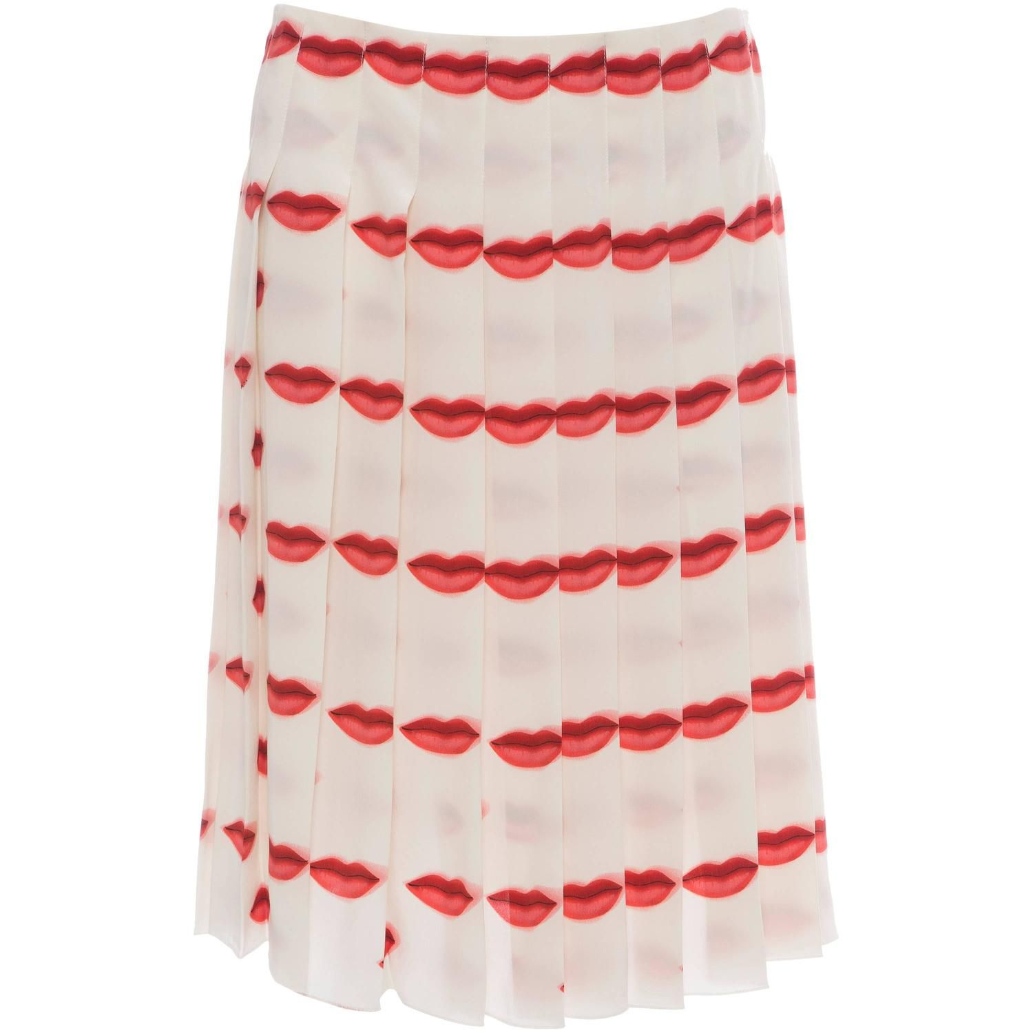 1d9c7f59ee Prada Silk Pleated Lip Print Skirt, Spring - Summer 2000 | From a  collection of