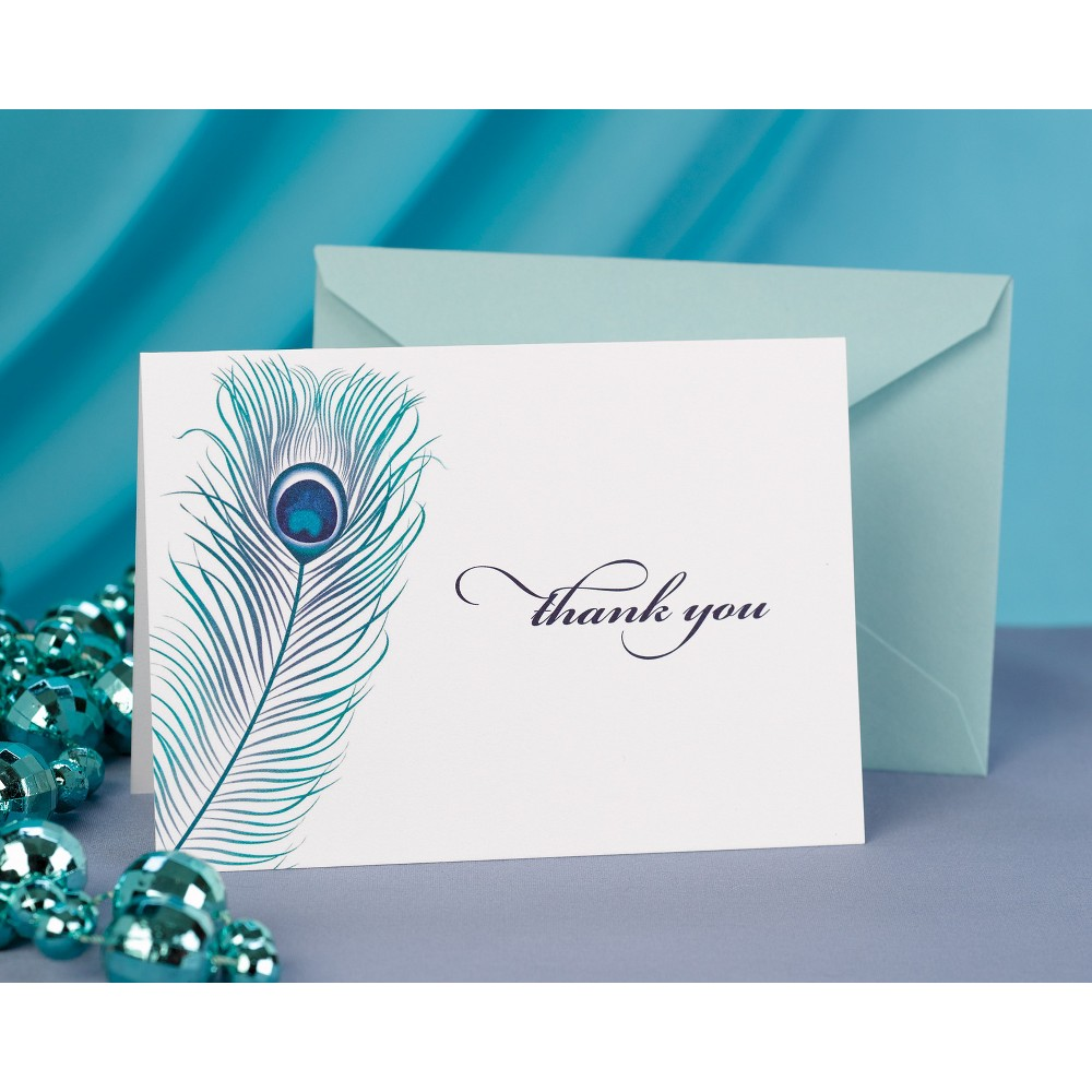 50ct Thank You Cards with Peacock Feather