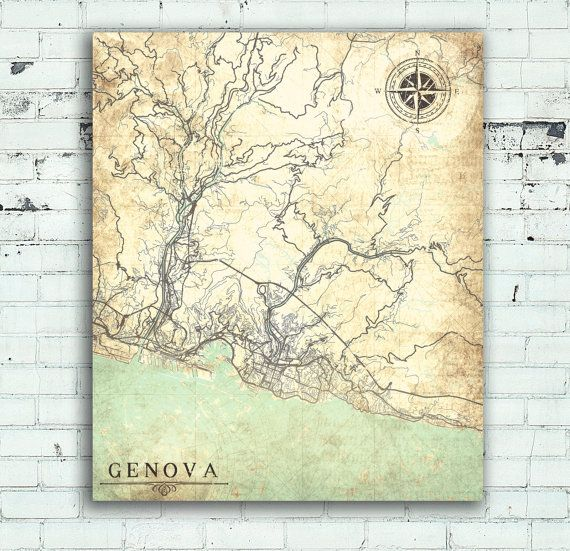 Genoa italy vintage map genova city italy vintage map genoa italy genoa canvas print italy genova vintage map city town plan wall art poster retro old gift home decor pastel world travel antique map europe gumiabroncs Gallery