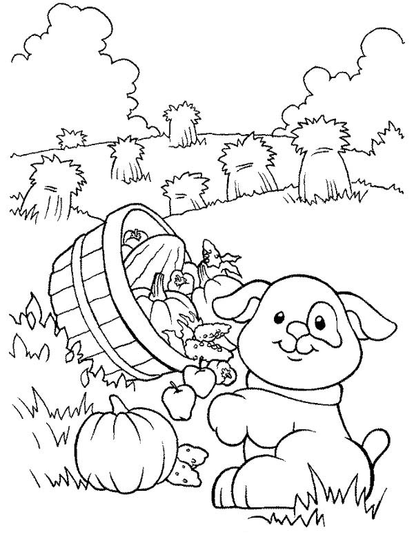Farm Life Coloring Pages Little Dog Carrying A Basket Of Fruits Bulk Color Farm Coloring Pages Cool Coloring Pages Farm Animal Coloring Pages
