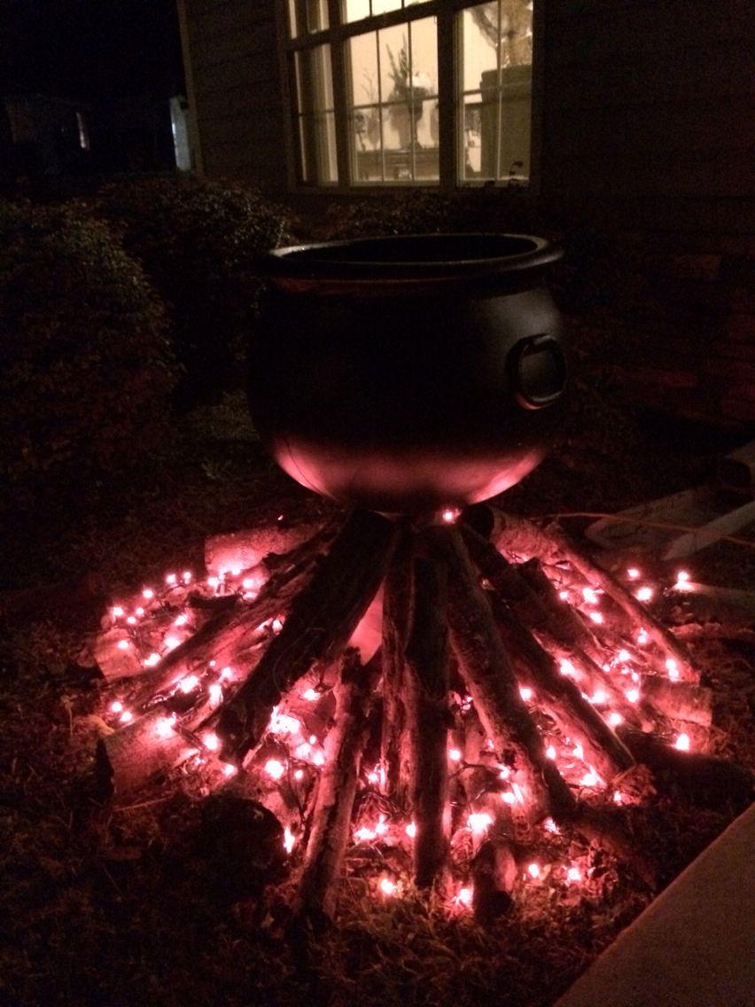 Halloween decor cauldron with red lights Halloween