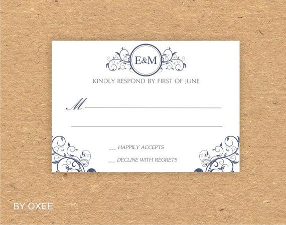 Printable wedding RSVP card template Navy Blue Curly by Oxee