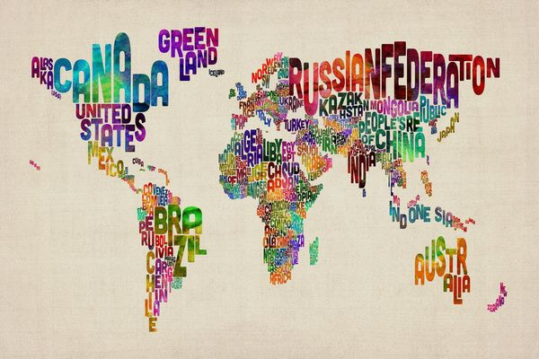 Typography Text Map of the World Art Print by ArtPause   Society6