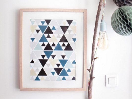 graphic poster blue triangle scandinavian inspiration modern design illustration. Black Bedroom Furniture Sets. Home Design Ideas