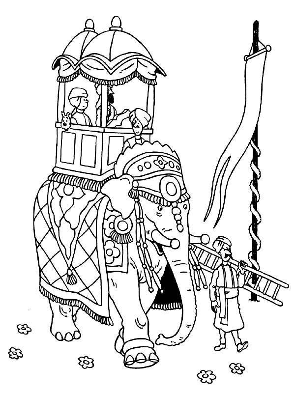 Tintin, : Tintin Ride an Elephant in the Adventures of