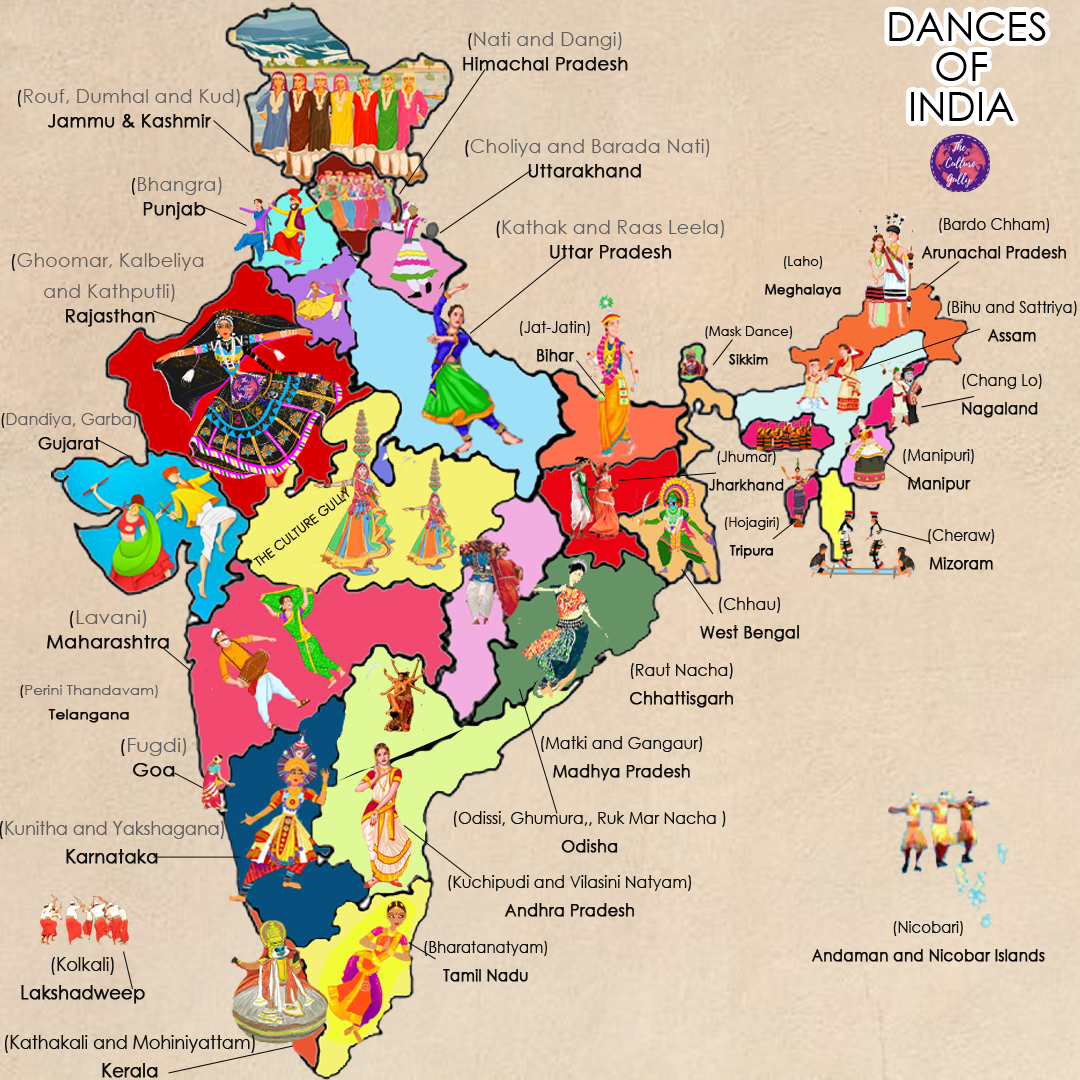 Map Of Dances Of India
