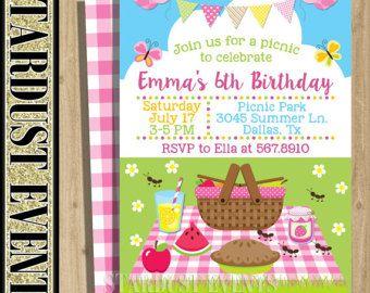 Invitación De Cumpleaños De Picnic Cumpleaños De Picninc