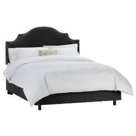 Skyline Furniture Velvet King Nail Button Notched Bed, Black $594.99