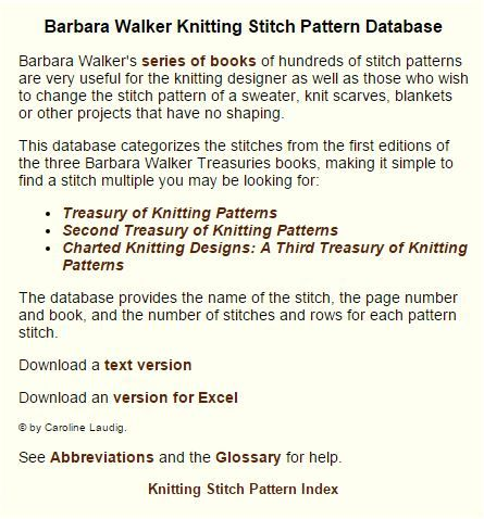 Barbara Walker Treasury Database Knitting Stitch Compendium