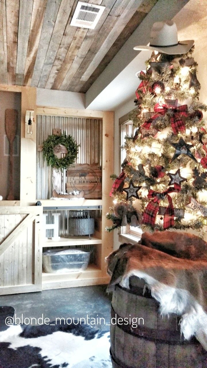 Rustic Christmas Tree Decor Western Barnwood Plank Ceiling