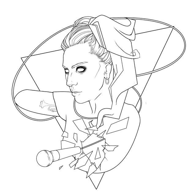 WEBSTA @ alfredov90 - #WIP Just starting this, love the #perfectillusion video, it goes so well with the song, needed to draw something inspired by it #ladygaga #gaga #perfectillusionvideo #Joanne #lineart #drawing