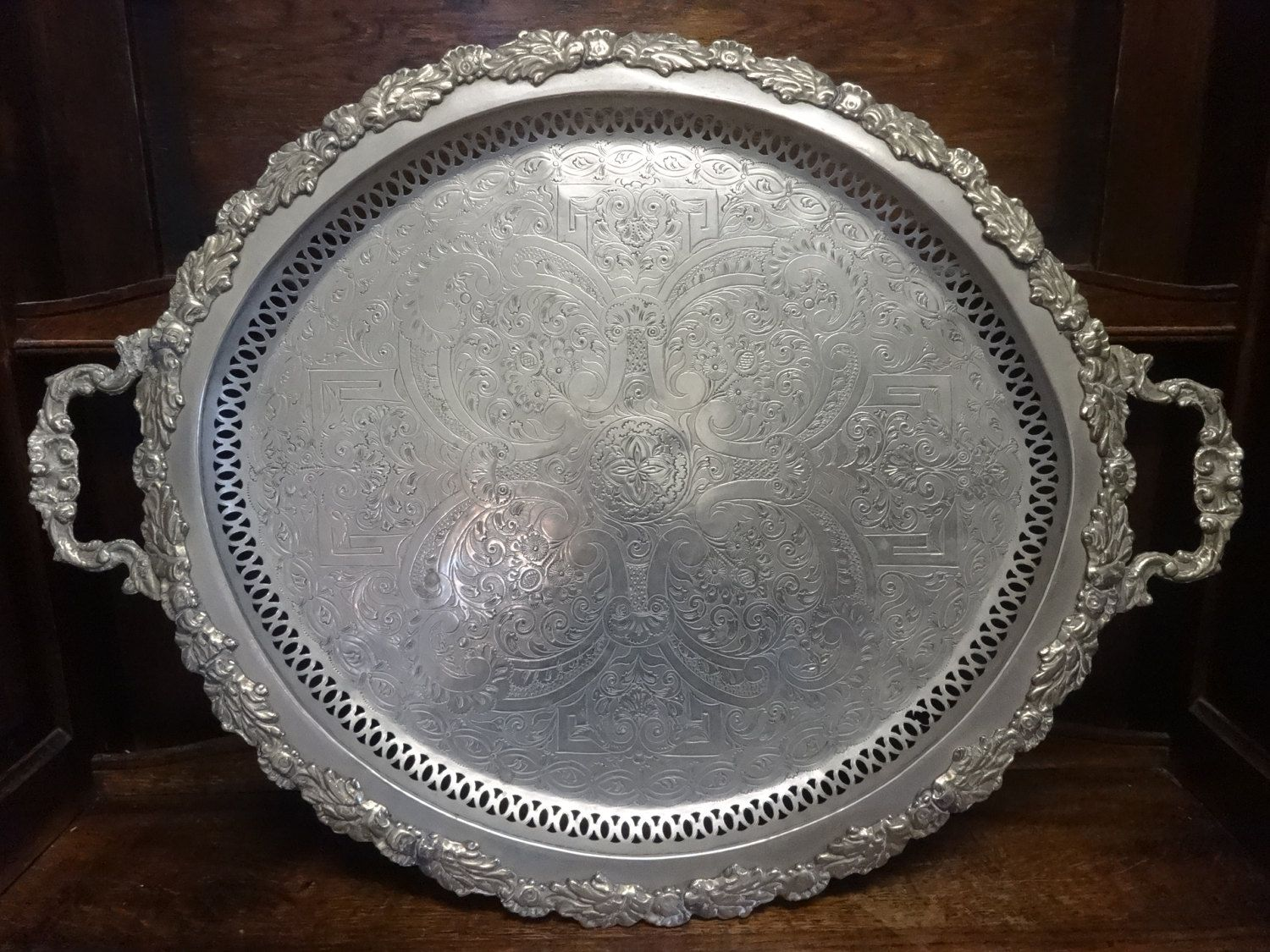Large Decorative Serving Trays Adorable Vintage North African Tunisian Large Metal Tray Decorative Decorating Design