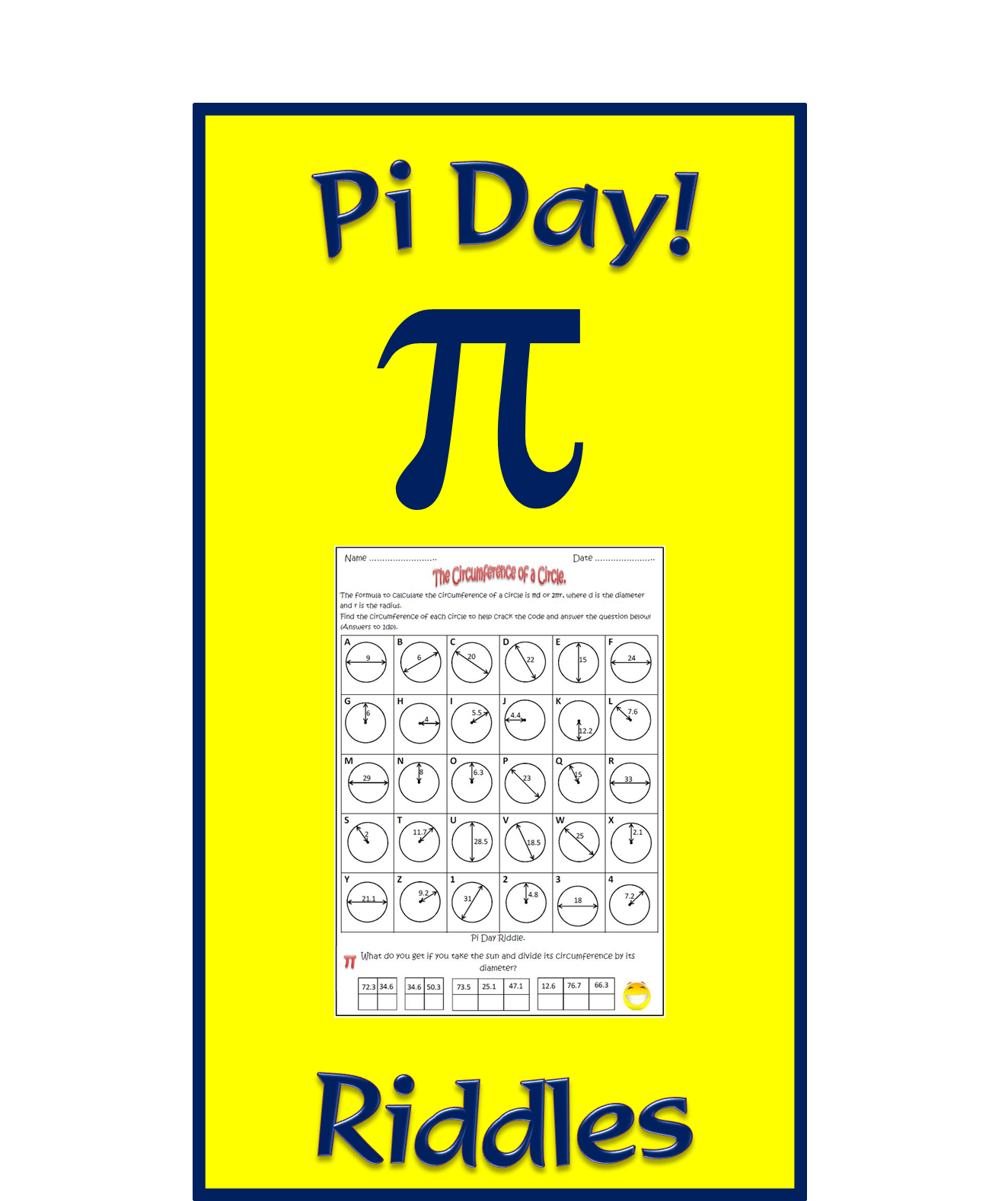 Pi Day Activities The Circumference And Area Of A Circle Tpt Math Secondary Math Area Of A Circle [ 1578 x 1324 Pixel ]