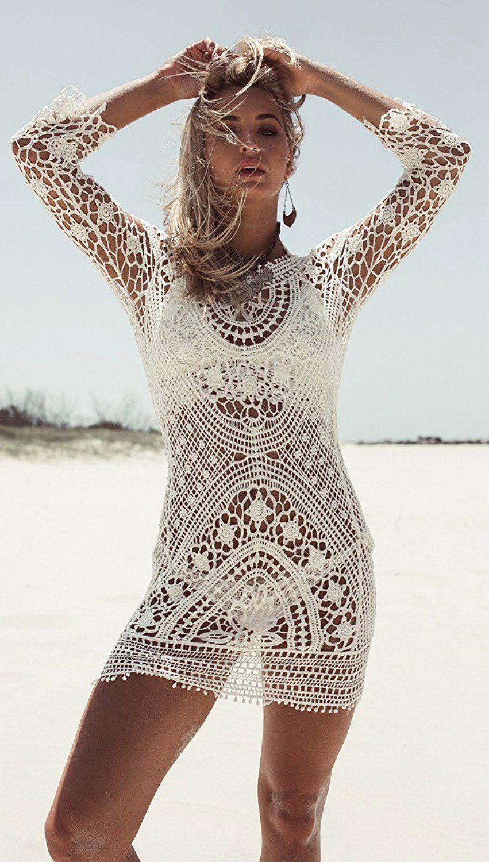 Mangotree Damen Boho Spitze H/äkeln Bikini Cover Up Nackten R/ücken Strandkleid Beachwear Badeanzug Sommerkleid Tunic Tops