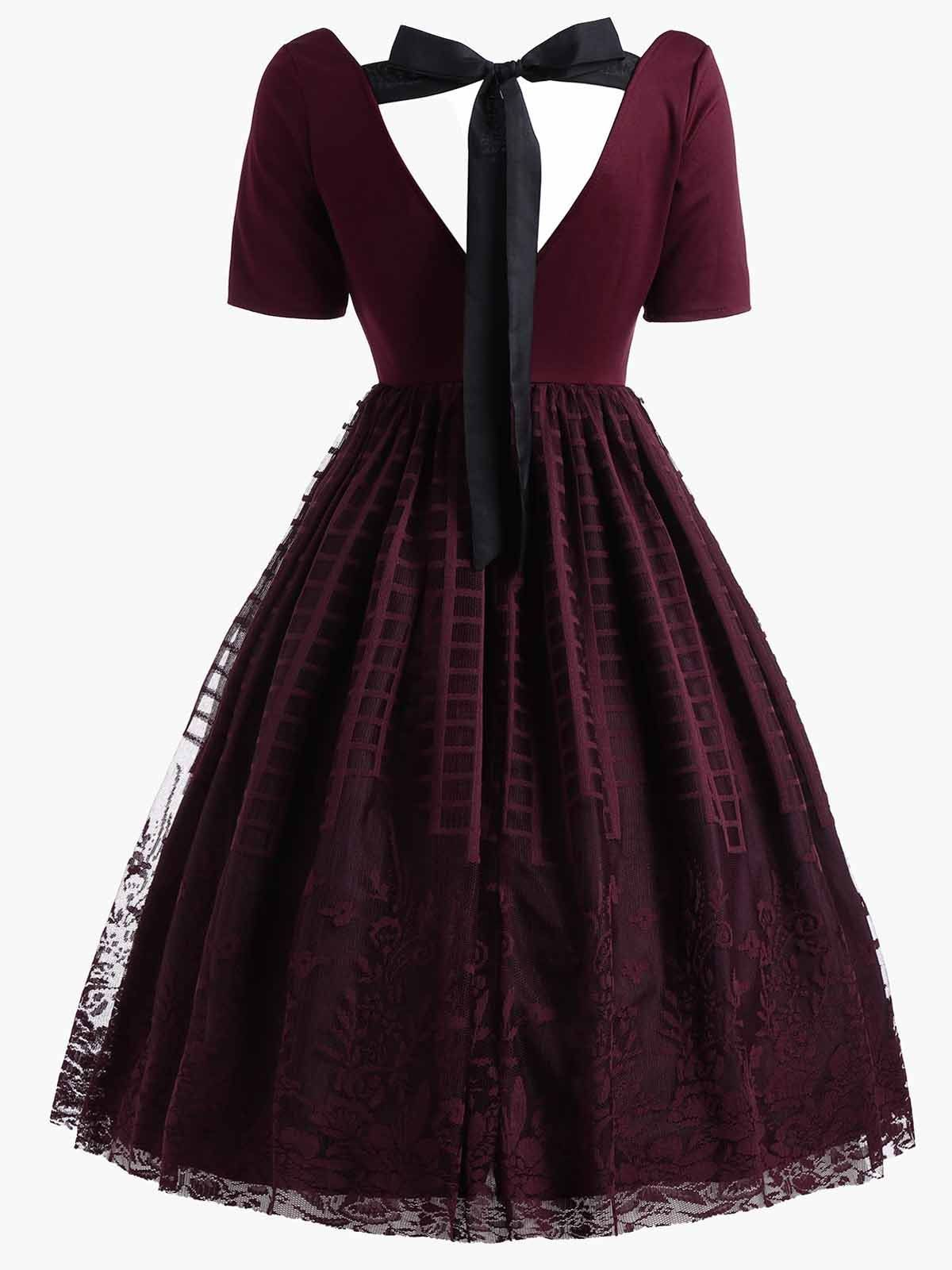 8775d59cd11 Wine Red 1950s Back Lace Up Dress – Retro Stage - Chic Vintage Dresses and  Accessories