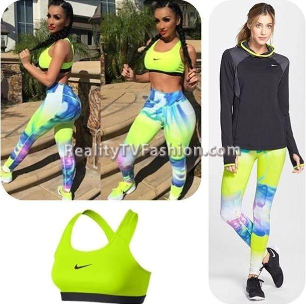 #AngelBrinks' Neon Green Sports Bra & Print Leggings #BBWLA