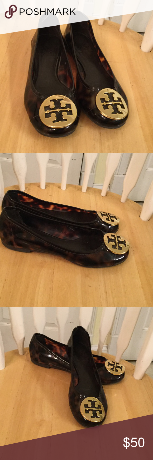 Tory Burch shoes Tory burch brown plastic flats great condition used a few times  Tory Burch
