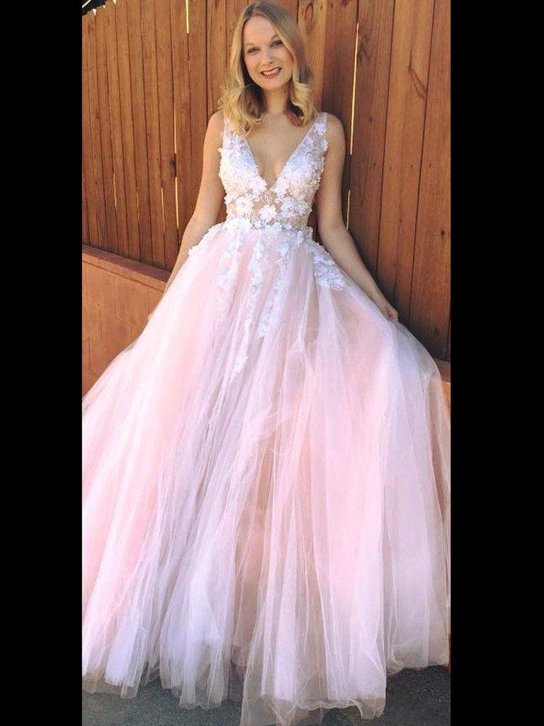 79634b9ef3a Blush Prom Dress Applique V neck Tulle Elegant Pink Prom Dresses Long Evening  Dress