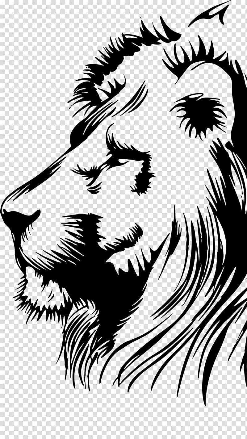 Black Lion Illustration Lionhead Rabbit Drawing Leon Transparent Background Png Clipart Lion Illustration Lion Artwork Lion Art