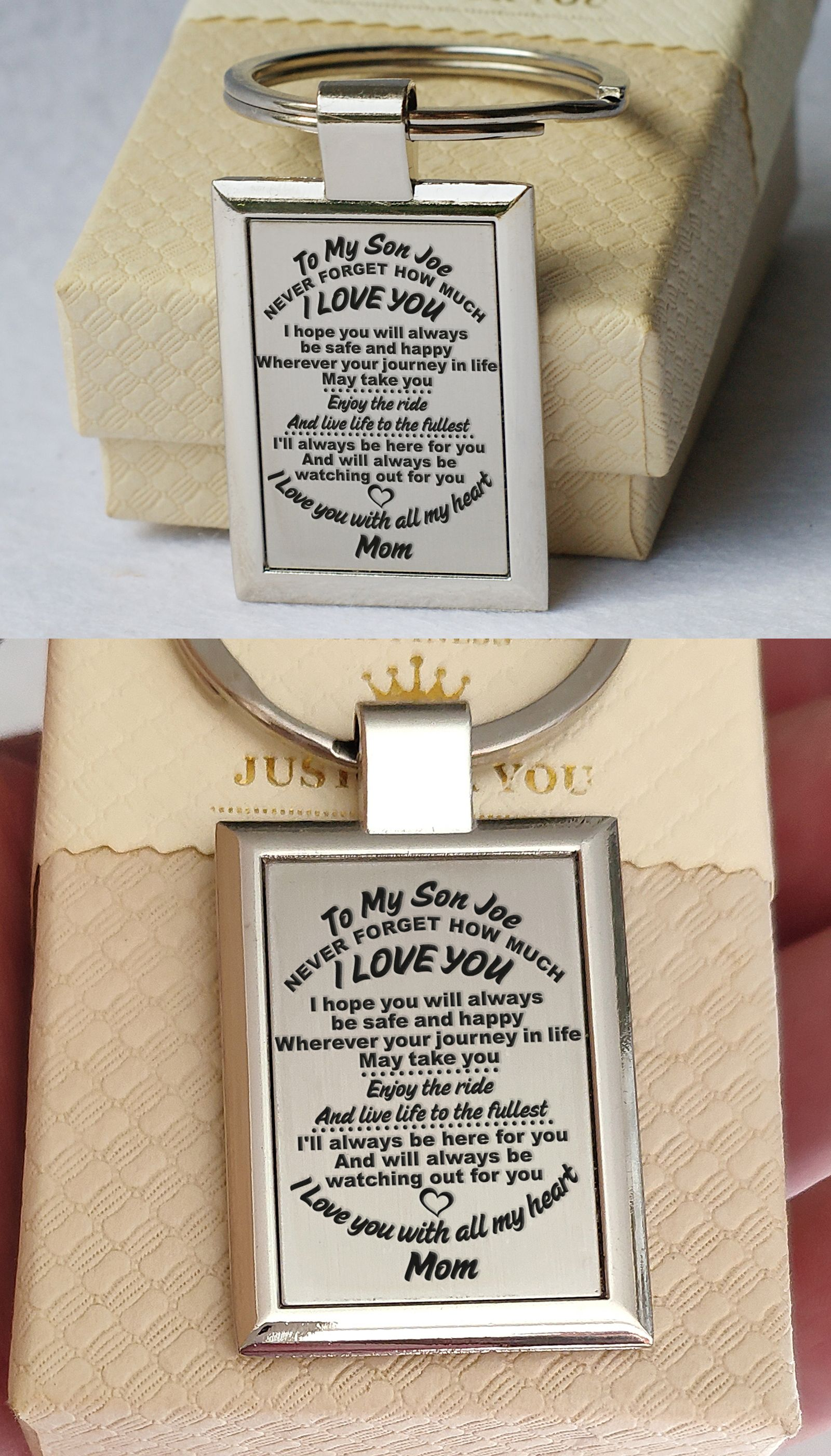 Mens custom keychain personalized engraved key ring mum