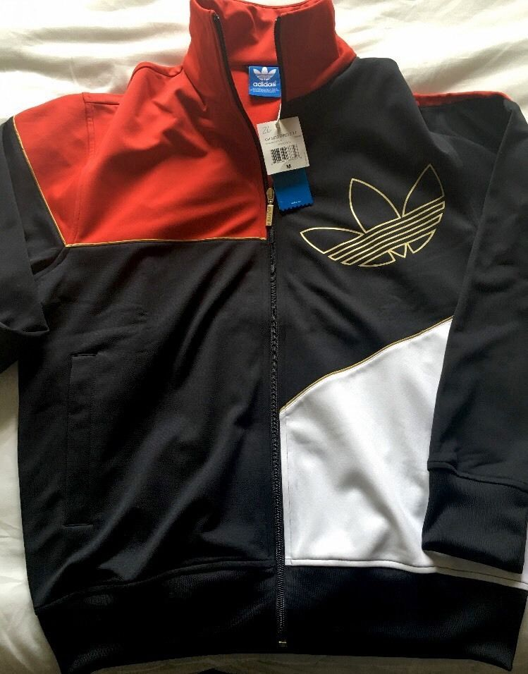 New Men's Adidas Originals Superstar Track Jacket Red Gold