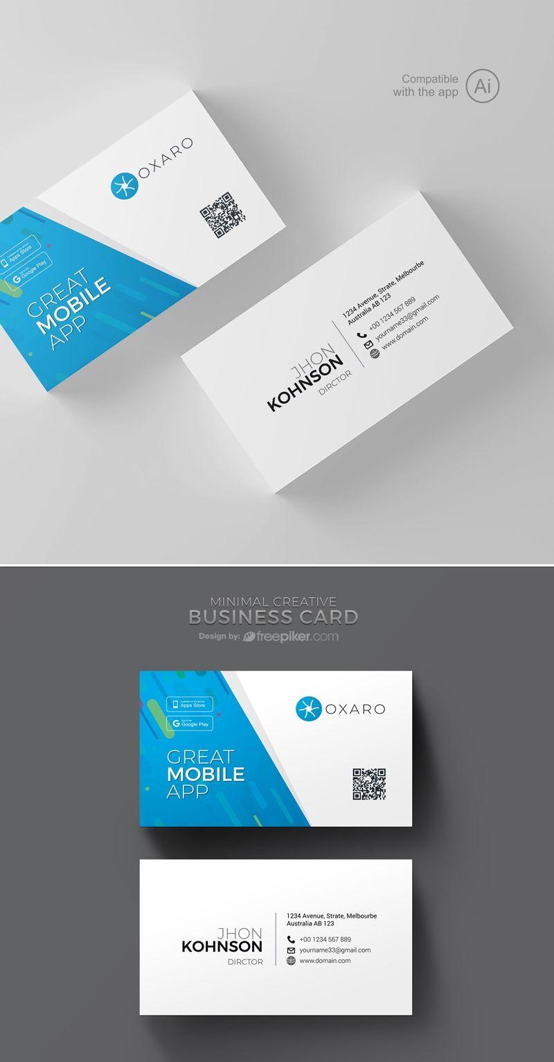 Freepiker Great Mobileapp Business Card Template Business Card Template Business Cards Creative Business Card Design Creative