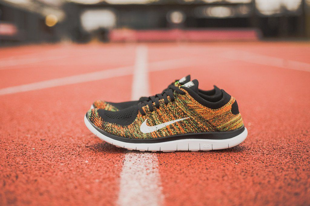 "new style 697a9 6f54f Nike Free 4.0 Flyknit ""Black, Poison Green   Total Orange"""